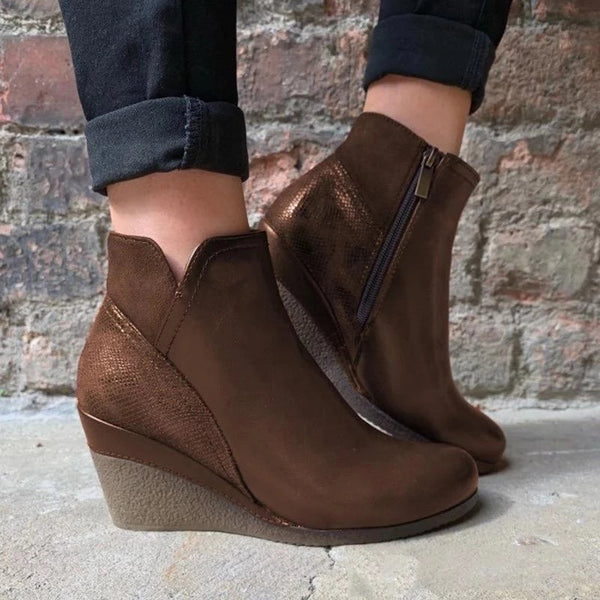 Round Toe High Heel Zipper Ankle Boots
