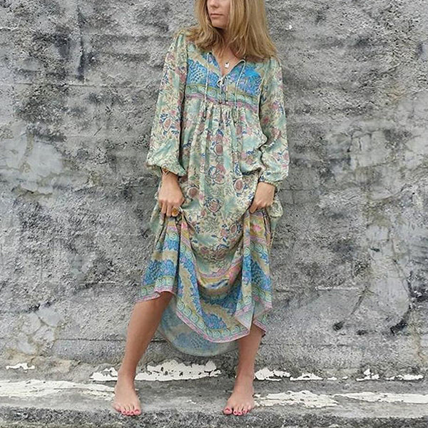 Bohemian V Neck Loose Dress