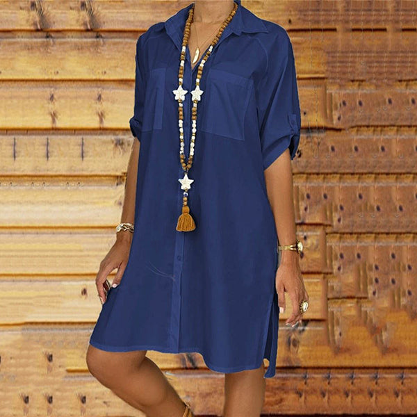Plus Size Button Lapel Neck Solid Color Loose Dress