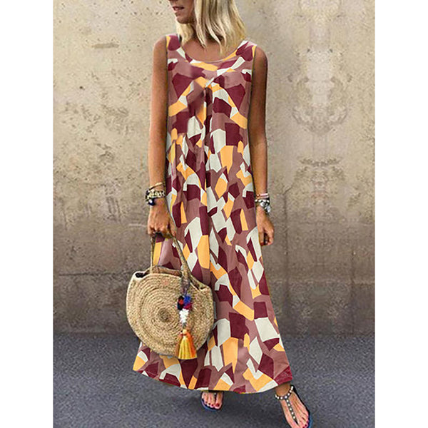 Casual Round Neck Sleeveless Printed Women Dresses