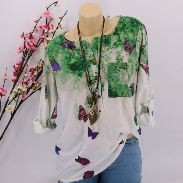 Long Sleeve Butterfly Printed Loose Blouses