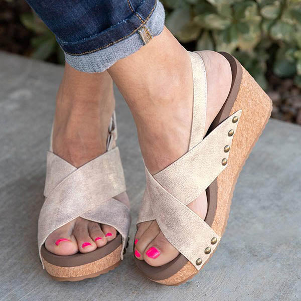 Casual Cross Band Wedge Sandals