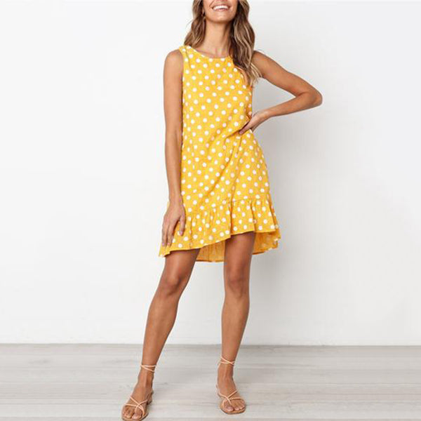 Casual Dot Irregular Dresses