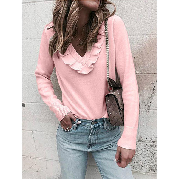 Casual Patchwork V Neck Fall Sweaters