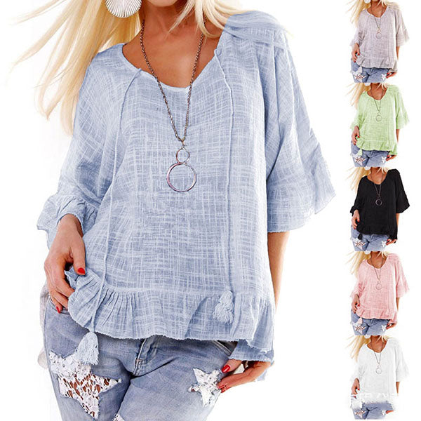 Casual Loose Solid Color Blouse