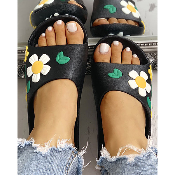 Women Open Toe Flower Design Casual Slippers