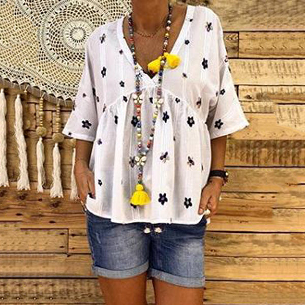 Loose Casual V Neck Blouse