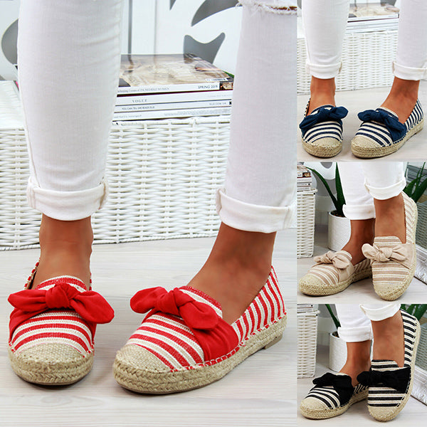 Women Round Toe Slip-On Low Heel Casual Flats