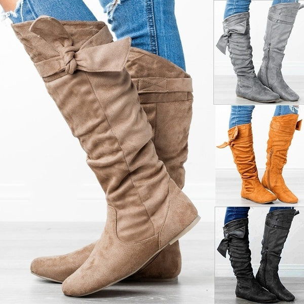 Ladies Knee High Tight Bow Winter Boots