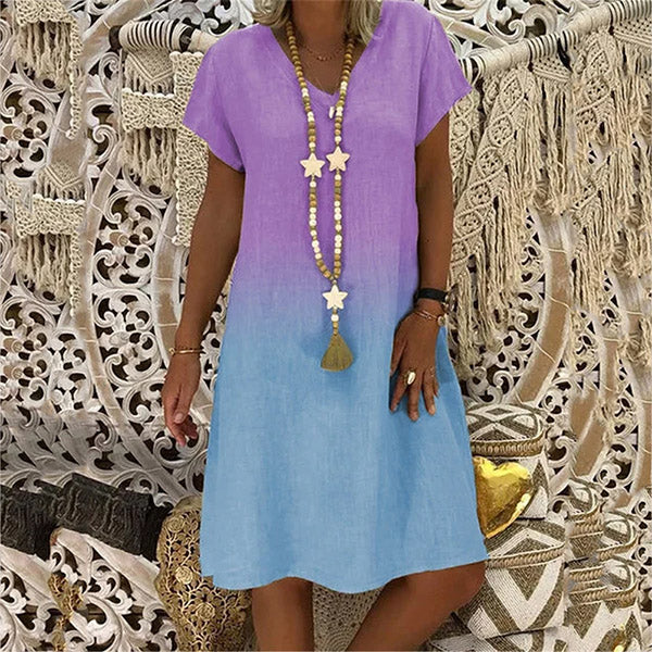 Women Fashion V Neck Summer Dress