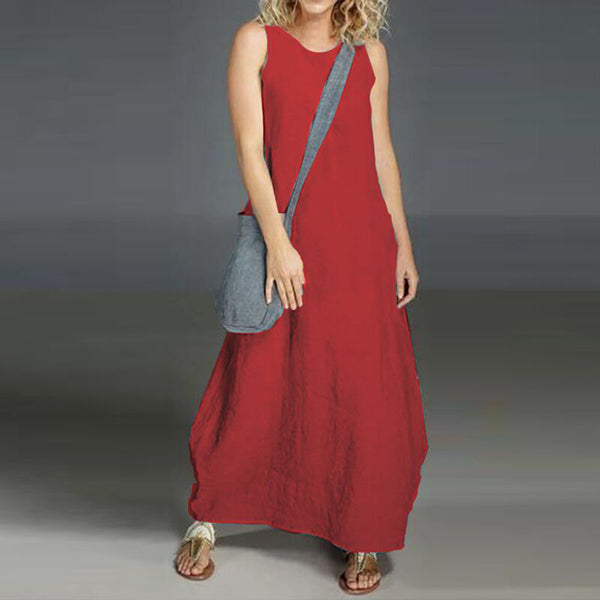 Daily Sleeveless Solid Color Maxi Dress