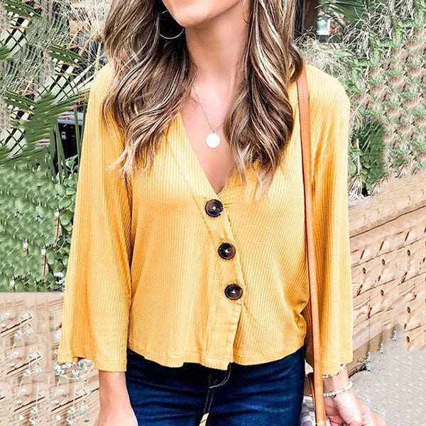 Loose V Neck Solid Color Button Blouse