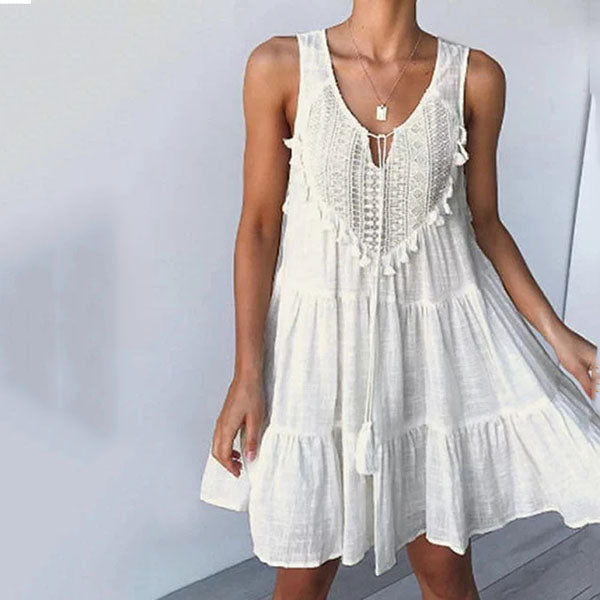 V Neck Sleeveless Tassel Lace-Up Dress