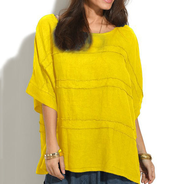 Women Round Neck 1/2 Sleeve Summer Blouses