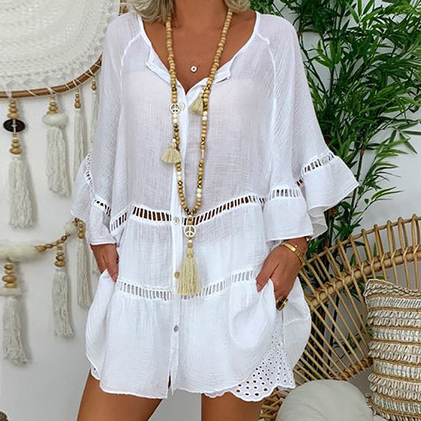 V-neck Loose Button Cutout Women Blouse