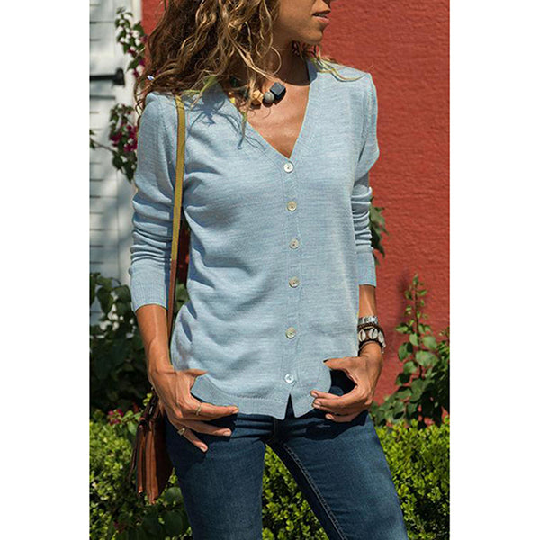 Casual Long Sleeve Solid Color Plain Buttons Blouses