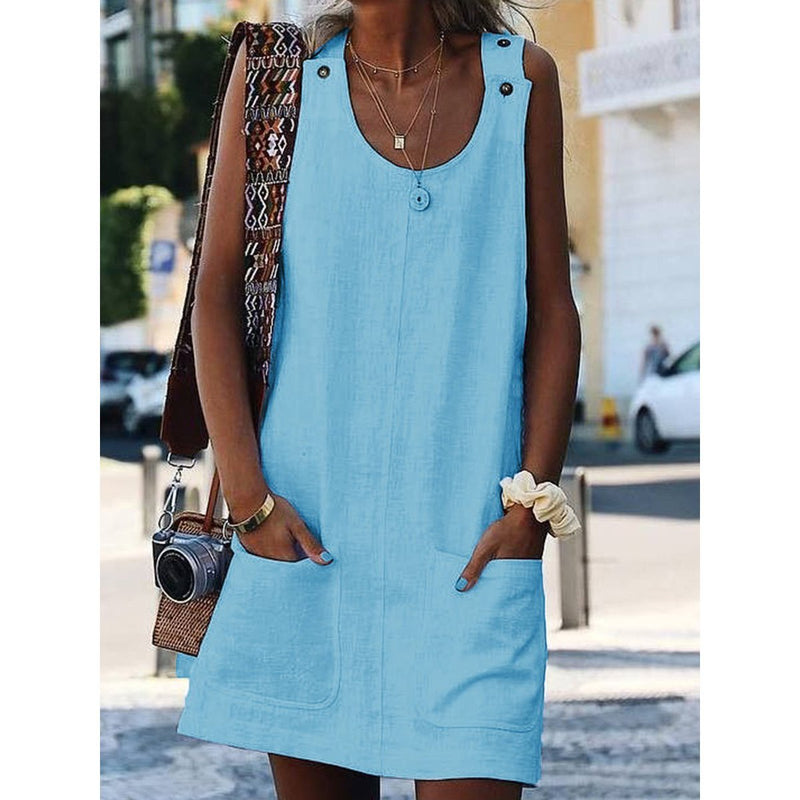 Crew Neck Women Dresses Shift Cotton-Blend Dresses