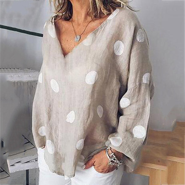 Fashion V-neck Polka Dot Printed Loose Blouse