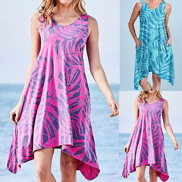 Bohemian Sleeveless O-Neck Printing Sandy Beach Dress