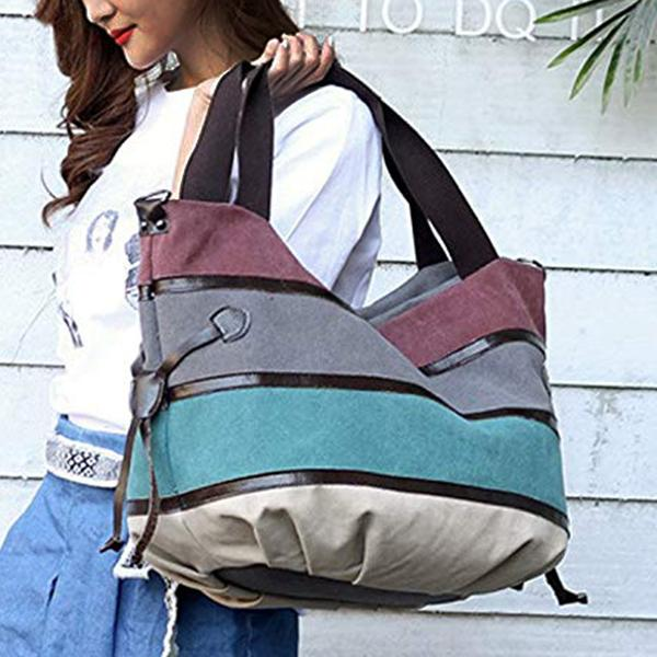 Women's Casual Multi-Pocket Canvas Handbags Messenger Bag Single Shoulder Bags