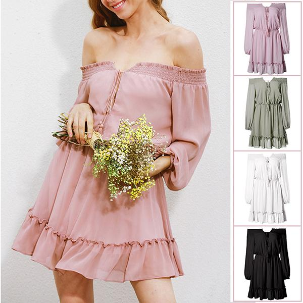 Casual Off-The Shoulder Solid Color Dress