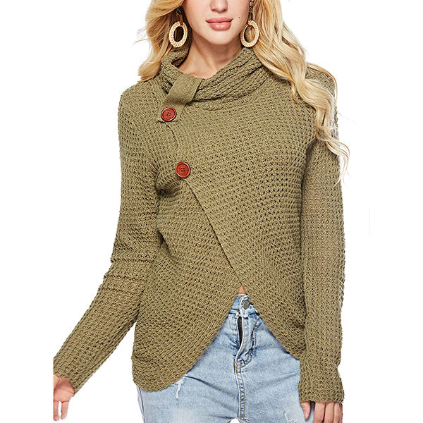 Casual Buttons Irregular Sweaters