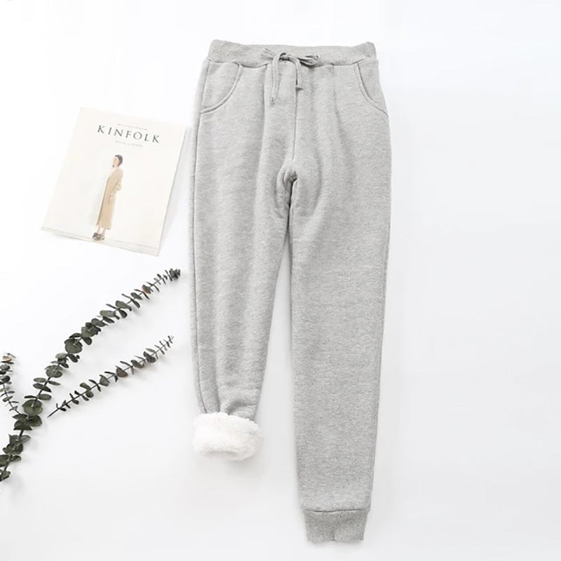 Women Solid Fleeced Winter Casual Pants