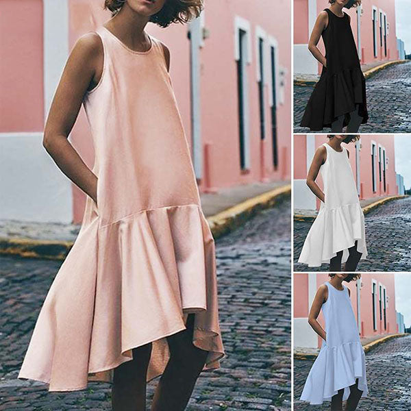 Loose Patchwork Irregular Vacation Dresses