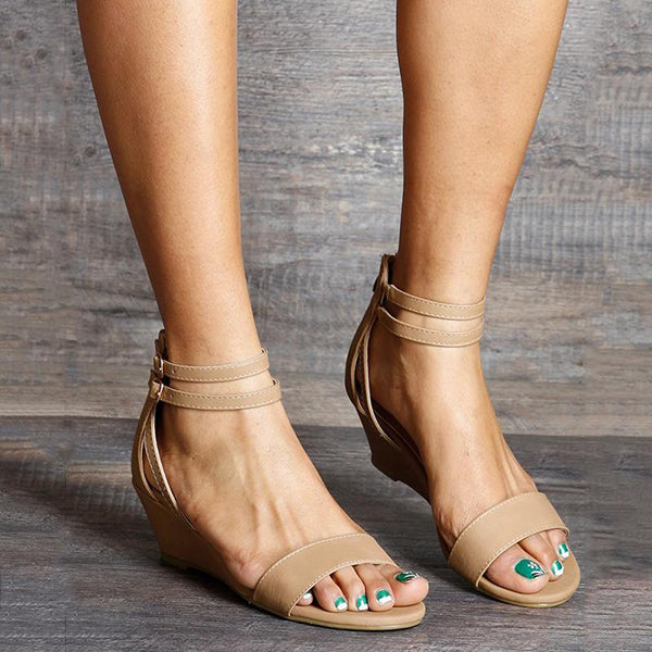 Casual Low Heel Double Buckle Sandals