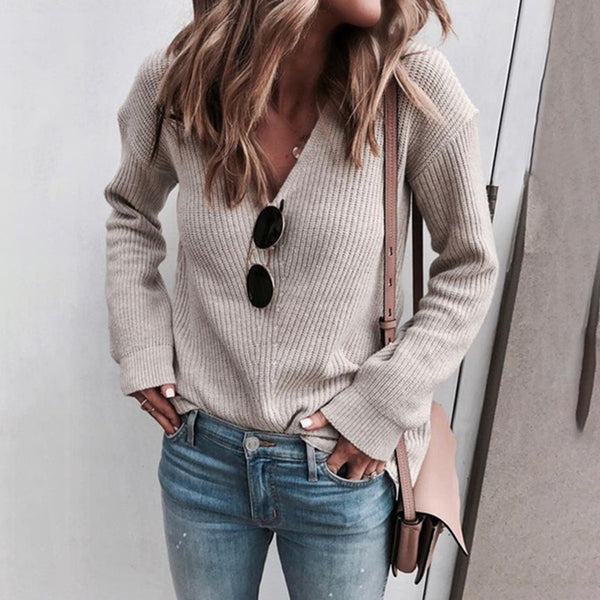 Women's V-Neck Solid Long-Sleeved Sweaters