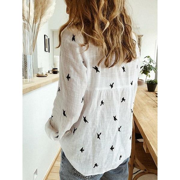 Women's V-neck Animal Print Casual Button Blouses