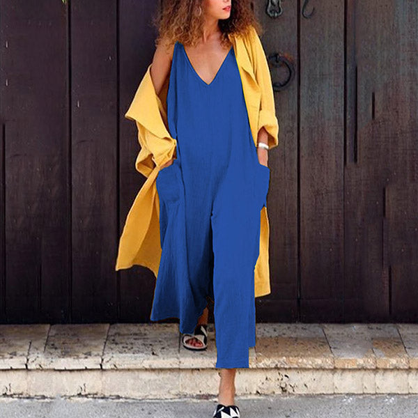 Deep V Neck Solid Color Jumpsuits