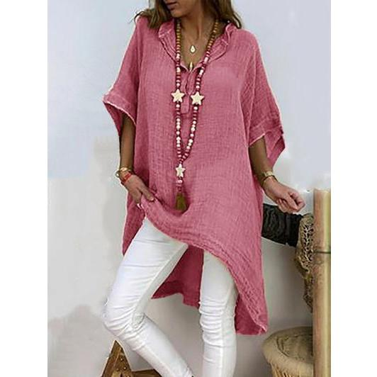 Casual V Neck Half Sleeve Plus Size Shirt