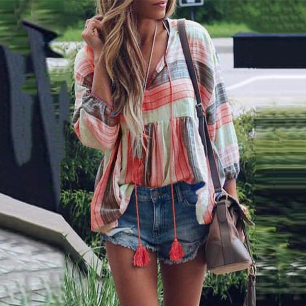Bohemian Tassel Stripe Multicolor Blouse