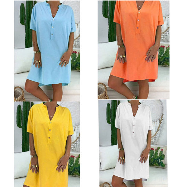 Casual Solid Color V Neck Women Dress