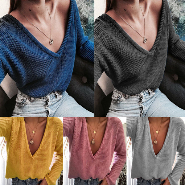 Women V Neck Solid Color Daily Sweaters