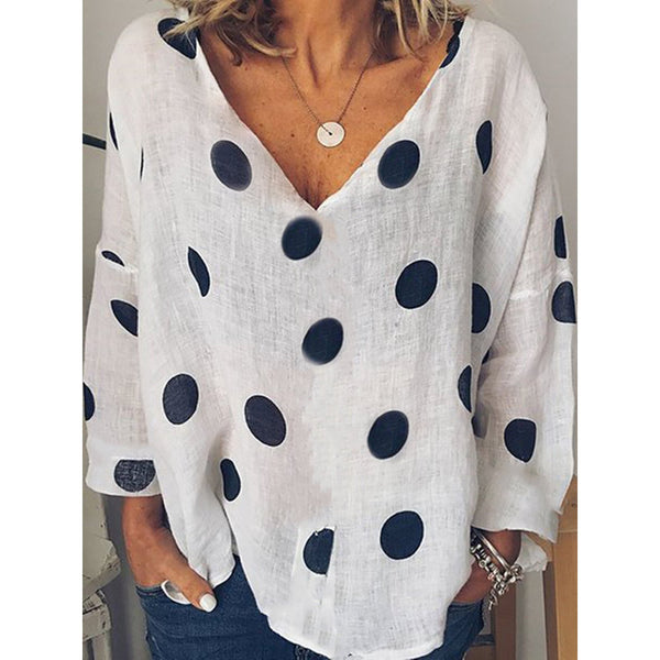 Long Sleeve Casual Polka Dots V-neck  Shirts
