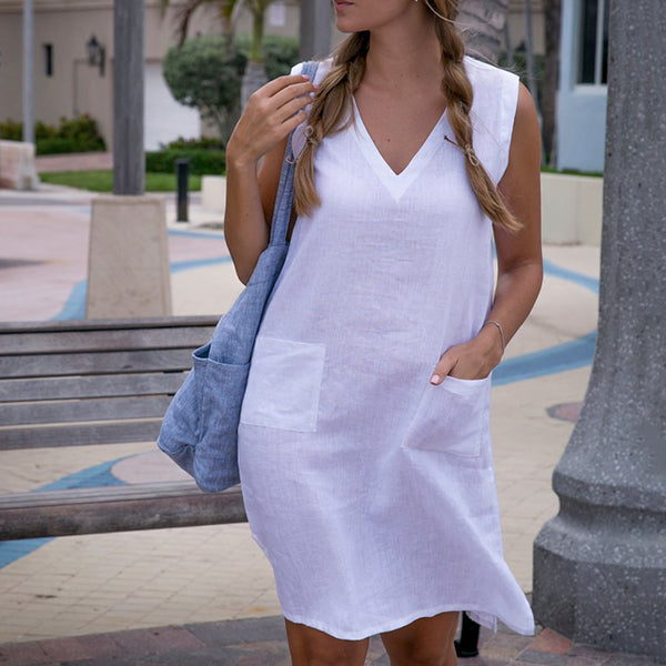 V Neck Simple Solid Color Dress
