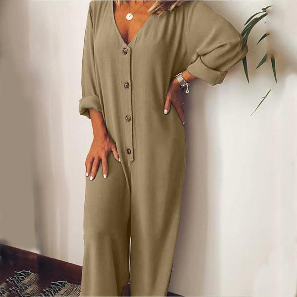 Casual Comfy V Neck Long Sleeve Solid Jumpsuits