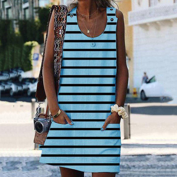 Casual Pocket Stripe Sleeveless Dress