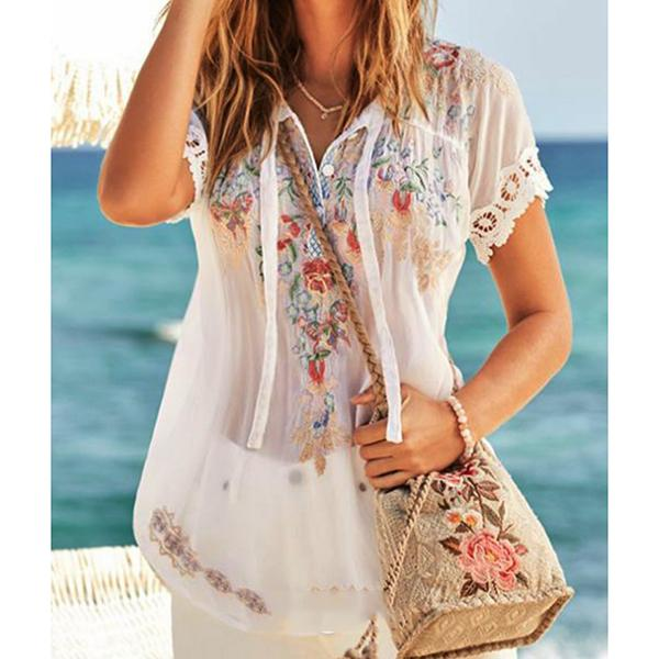 Casual Loose Printed V-Neck Blouse