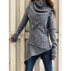 Asymmetrical Turtleneck Casual Sweater