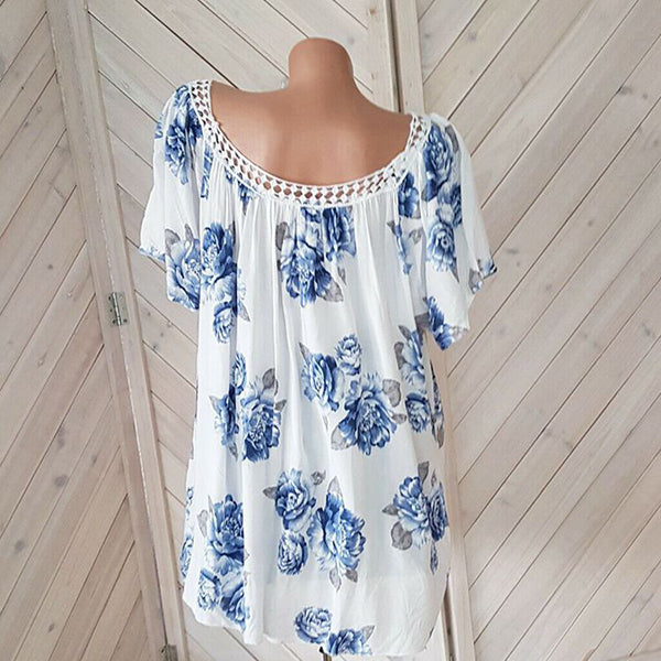 Plus Size Flower Printed Loose Blouse