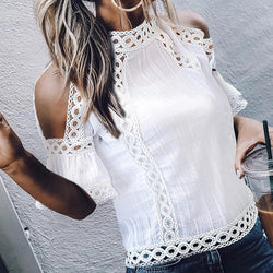Elegant Bell Sleeve Hollow Out See-Through Tops