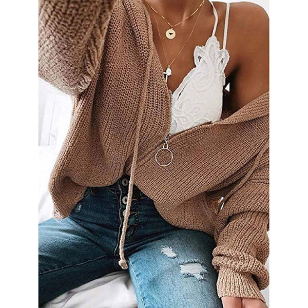 Casual Solid Zipper Hooded Sweaters
