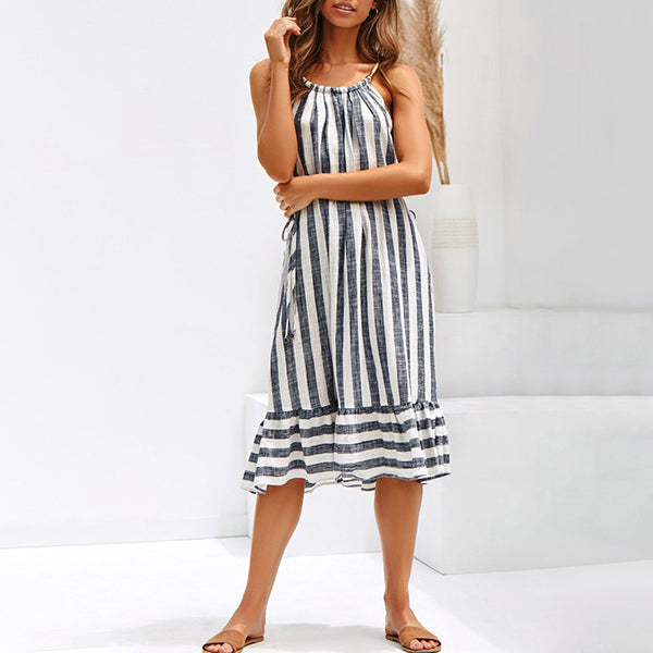 Sexy Stripe Front Split Lace-Up Dress