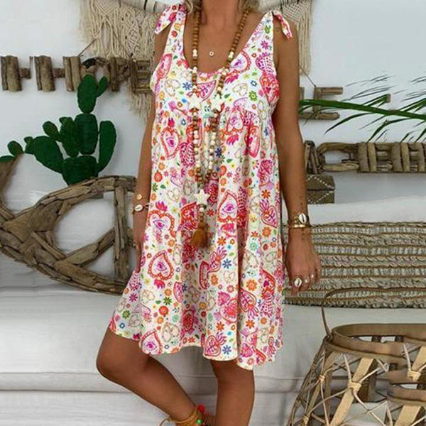 Plus Size Casual Round Neck Printed Sleeveless Dress