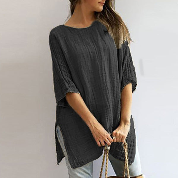 Plus Size Solid Color Crew Neck Blouse
