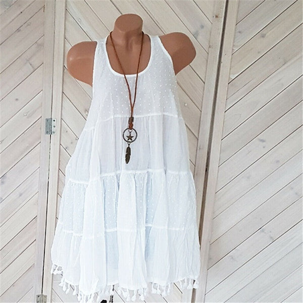 Plus Size Sleeveless Tassel solid Color Dress