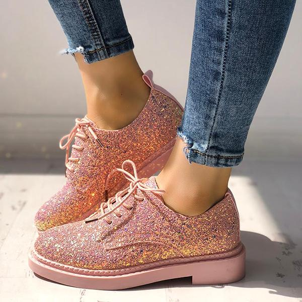 Glittering Sequined Round Toe Sneakers